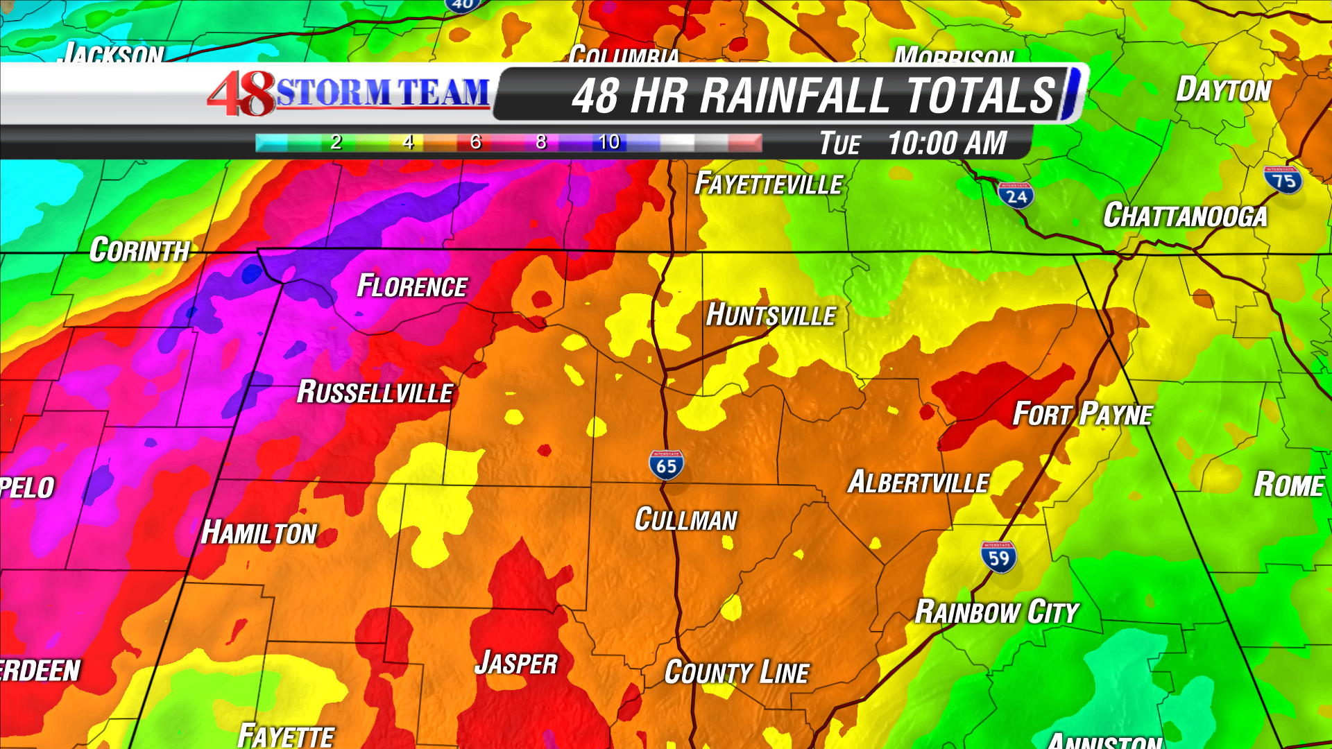 Rainfall Totals Since Sunday - WAFF Weather